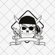 Pirate skull emblem image Stock Illustration