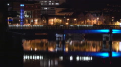 Beautiful city of Belfast at night Stock Footage