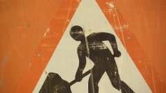 The construction sign on the street Stock Footage