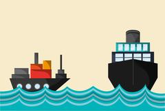 Cargo ship on water image Stock Illustration