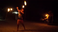Firedancer on beach in Phiippines Stock Footage