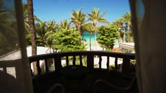 Approaching balcony of hotel room in Boracay, Philippines Stock Footage