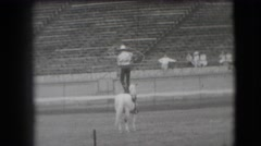 1941: a person is seen standing on a horse with a hunter NEVADA Stock Footage