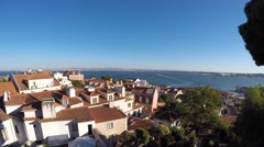Lisbon, Portugal. Saint George Castle. Landscape on the city Stock Footage