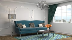 Building Up Modern Living Room. 3d illustration Stock Footage