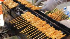 Pork Satay Thai food, BBQ Pork stick of Thai traditional style Stock Footage