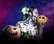 Girl with makeup for Halloween. Horrible Stock Photos