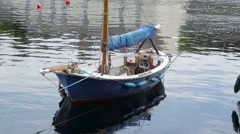 A small sailboat floating on the water Stock Footage