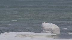 Scenic - frozen sea ice and slush flows past ice bloc on coast Stock Footage
