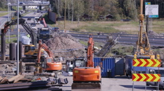 Heavy Equipment used in excavation work at a construction site. Time Lapse. Stock Footage