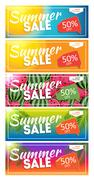 Summer Sale end of Season Banner. Business Discount Card Templat Stock Illustration