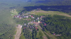 Aerial view of Ukrainian village in the mountains Stock Footage