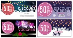 Christmas Sale, Discount Voucher Banner Background. Business Discount Card Stock Illustration