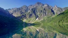 Famous Polish mountain lake in the Tatras, Poland Stock Footage