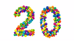 Bright colored balls in the shape of number twenty Stock Footage