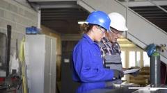 Metalwork students training in workshop Stock Footage