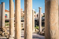 Columns next to Ayia Kyriaki Chrysopolitissa church in Paphos, Cyprus Stock Photos