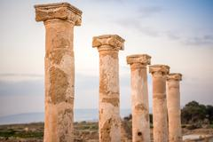 Ancient columns in Paphos Archaeological Park, Cyprus Stock Photos