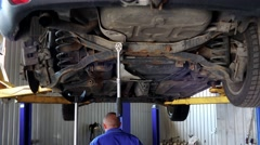 Mechanic, examining periodical vehicle safety inspection or mot test Stock Footage
