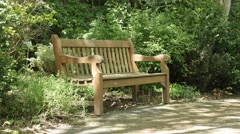 Wooden bench in the park natural background 4K 3840X2160 UHD video - Lonely b Stock Footage