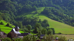 France, Pyrenees, View to Pyrenees, Panorama, Landscape Stock Footage