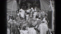 1948: many in costumes seem preparing to enter the circus tent about to begin Stock Footage