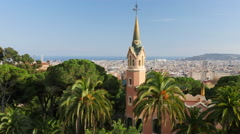 Panning shot of Barcelona skyline.  View from Guell park Stock Footage
