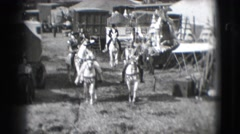 1948: people are seen riding horses and coming back from an act in a circus Stock Footage