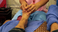 Foot massage in a spa Stock Footage