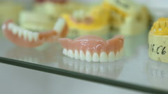 Prosthetic dentistry. casts of the jaws Stock Footage