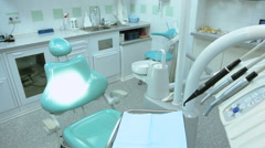 Dental chair and instruments for dental treatment Stock Footage