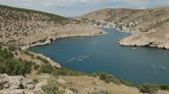 Balaklava is popular Crimean resort. Bay former submarine base Stock Footage