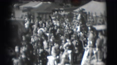 1948: a large gathering of animals and people in costumes at a circus CHICAGO Stock Footage