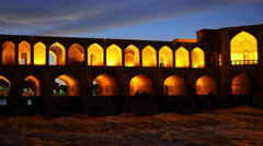 Night view of Khaju Bridge (Pol-e Khaju) in Isfahan, Iran Stock Footage