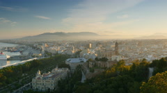 Cityscape aerial view of Malaga, Spain. Panning shot. UHD, 4K Stock Footage