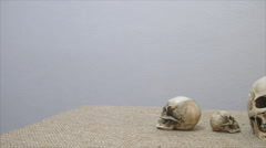 Set of human skull,tiny and normal size, on brown sackcloth Stock Footage
