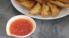 Fried dumplings serving on the plate Stock Footage