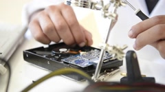 Student in technology fixing computer processing Stock Footage