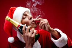 Merry Christmas Chilling Santa Stock Photos