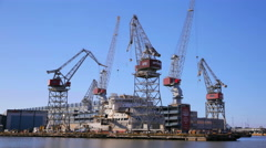 Loading cargo in the old seaport of Helsinki. Baltic sea. Time Lapse. Stock Footage