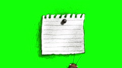 Good Luck Note and Cockroach on green screen Stock Footage