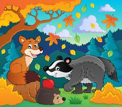 Forest wildlife theme image - eps10 vector illustration. Piirros