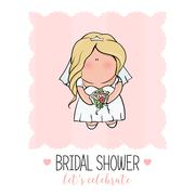 Doodle character. cute bride. Romantic announcement for bridal shower party Stock Illustration