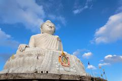Big Buddha statue Was built on a higt  hilltop of Phuket Thailand Can be seen Stock Photos