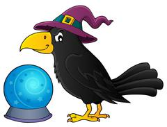 Witch crow theme image - eps10 vector illustration. Stock Illustration