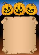 Parchment with Halloween pumpkins - eps10 vector illustration. Stock Illustration