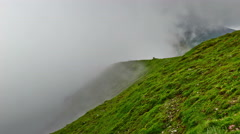 Exciting  time-lapse scene of fog moving in the Carpathians mountains Stock Footage