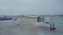 Timelapse at Domodedovo airport seen planes and take-off area, passing vehicles Stock Footage