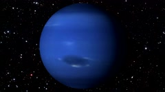 Neptune Rotating on Star Background. Loopable Stock Footage