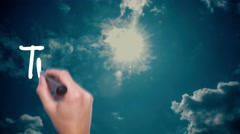 Transparency - cloud with a blue sky. Man Hand writing  with black marker on  Stock Footage